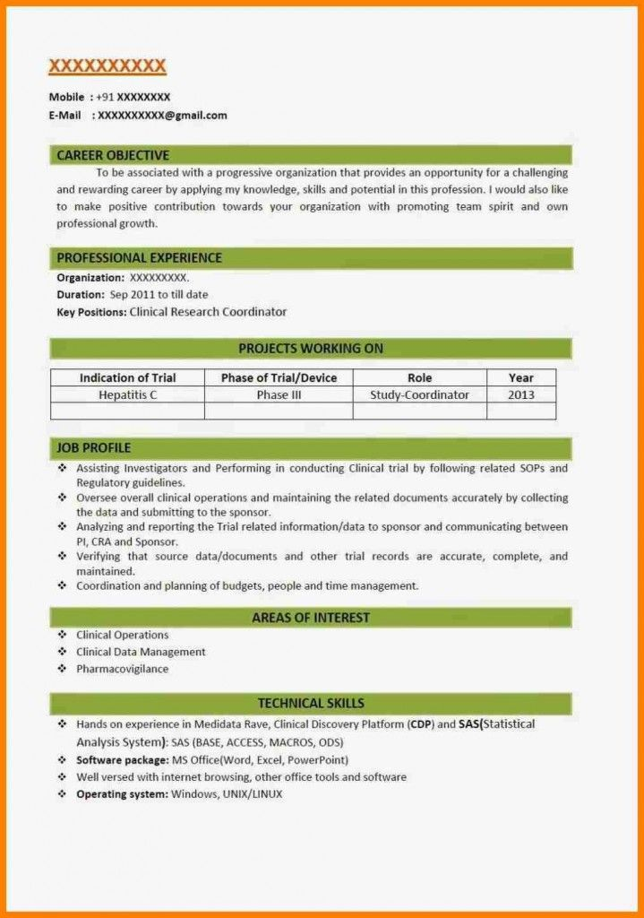 New Resume Format For Freshers 2018