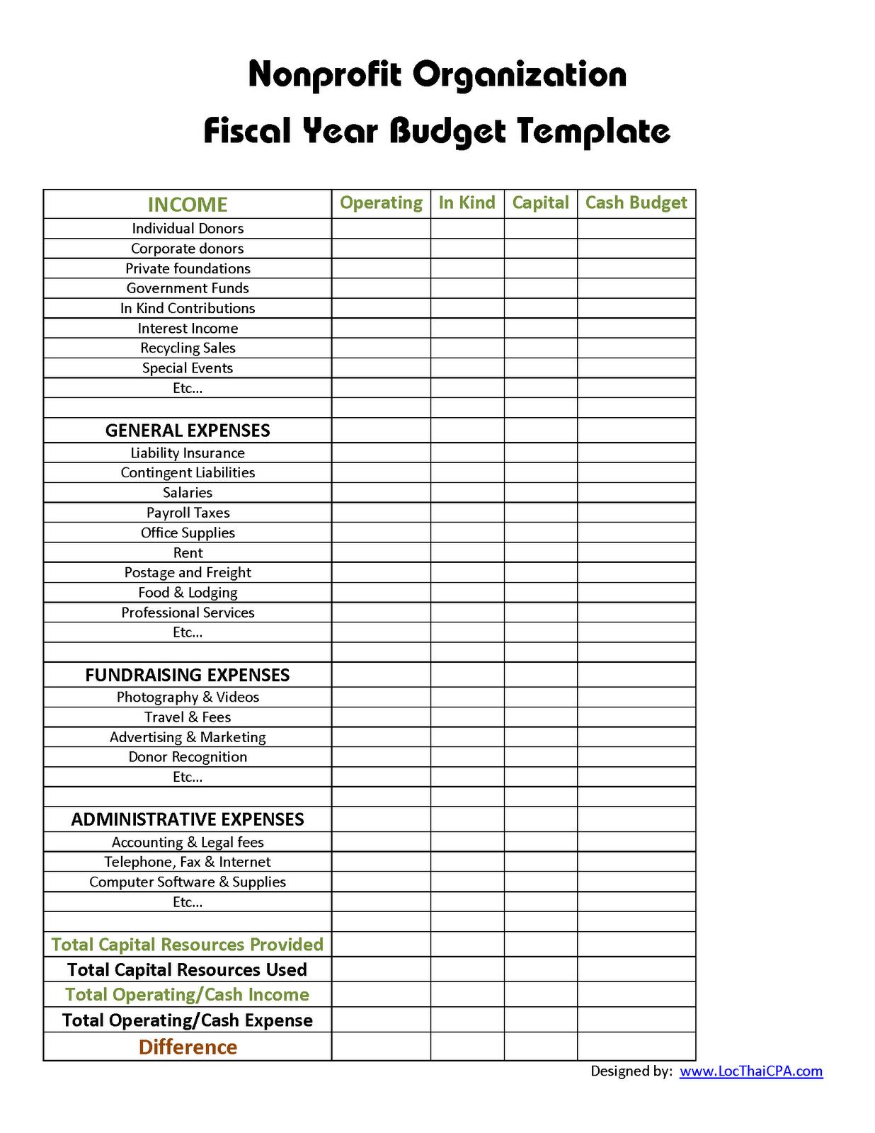 Non Profit Organization Nonprofit Budget Template