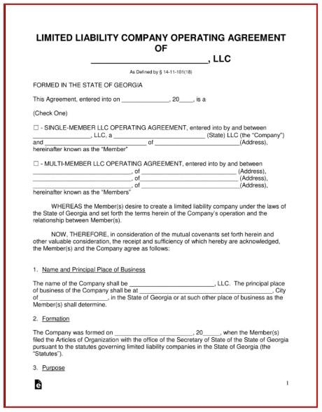 Nonprofit Articles Of Incorporation Template Georgia