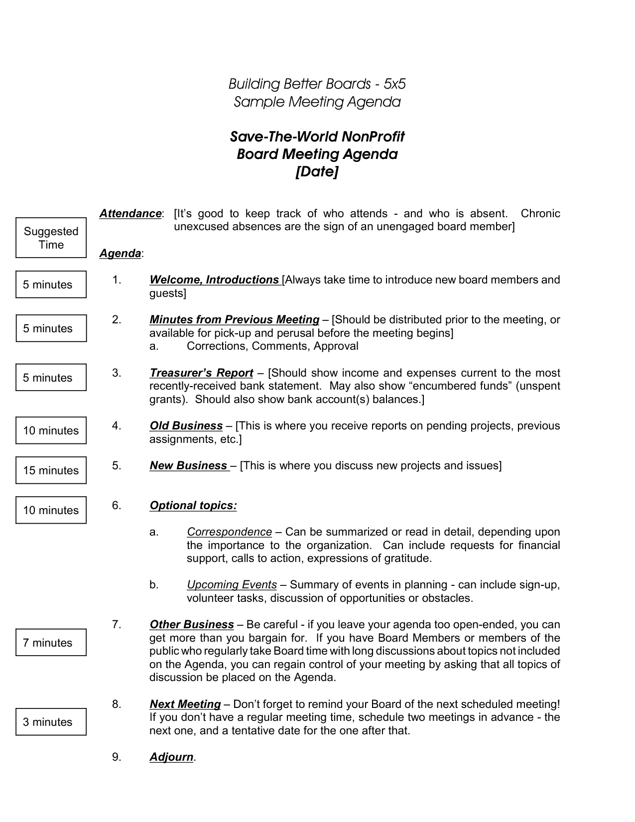 Nonprofit Board Meeting Agenda Template