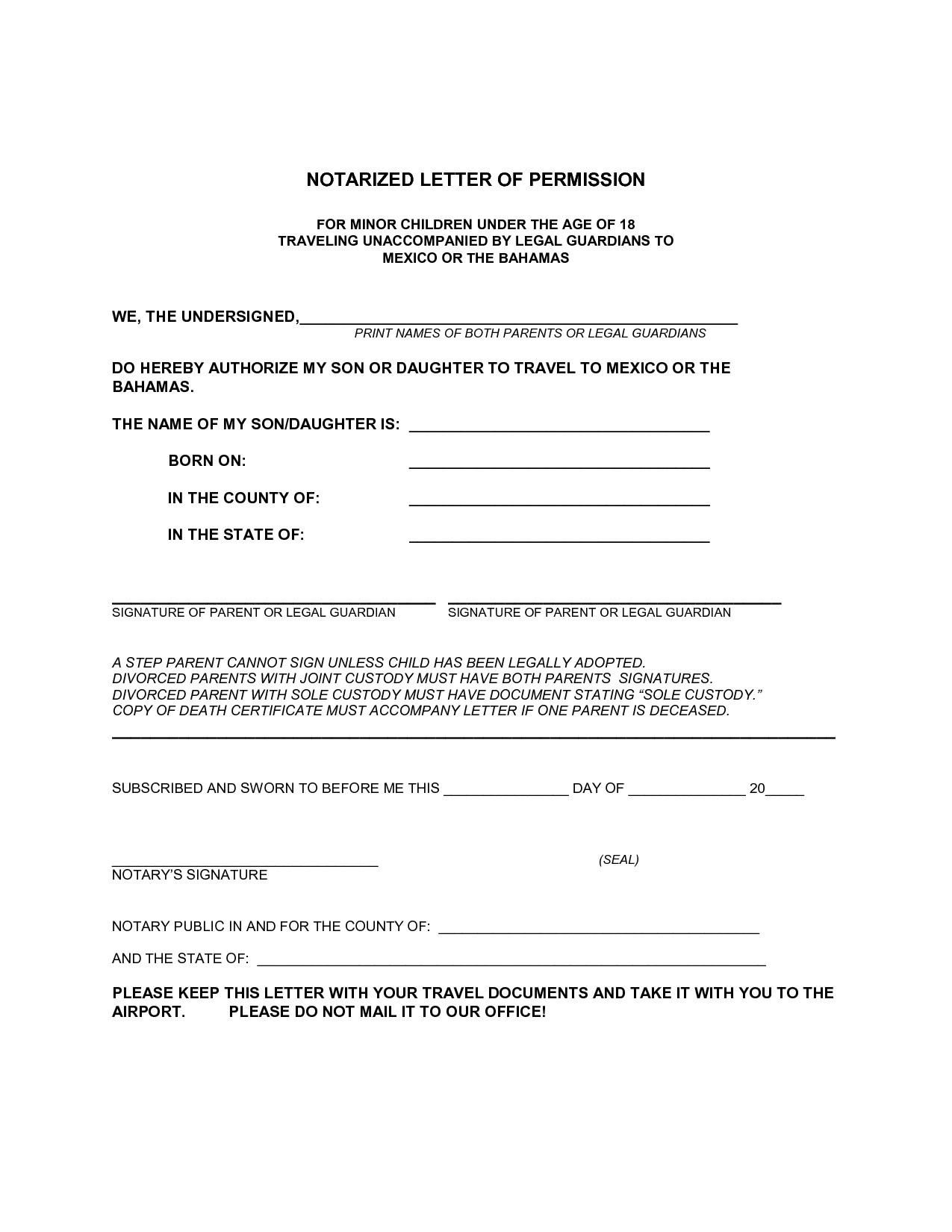 Inspirational Notarized Letter Template For Child Travel Your