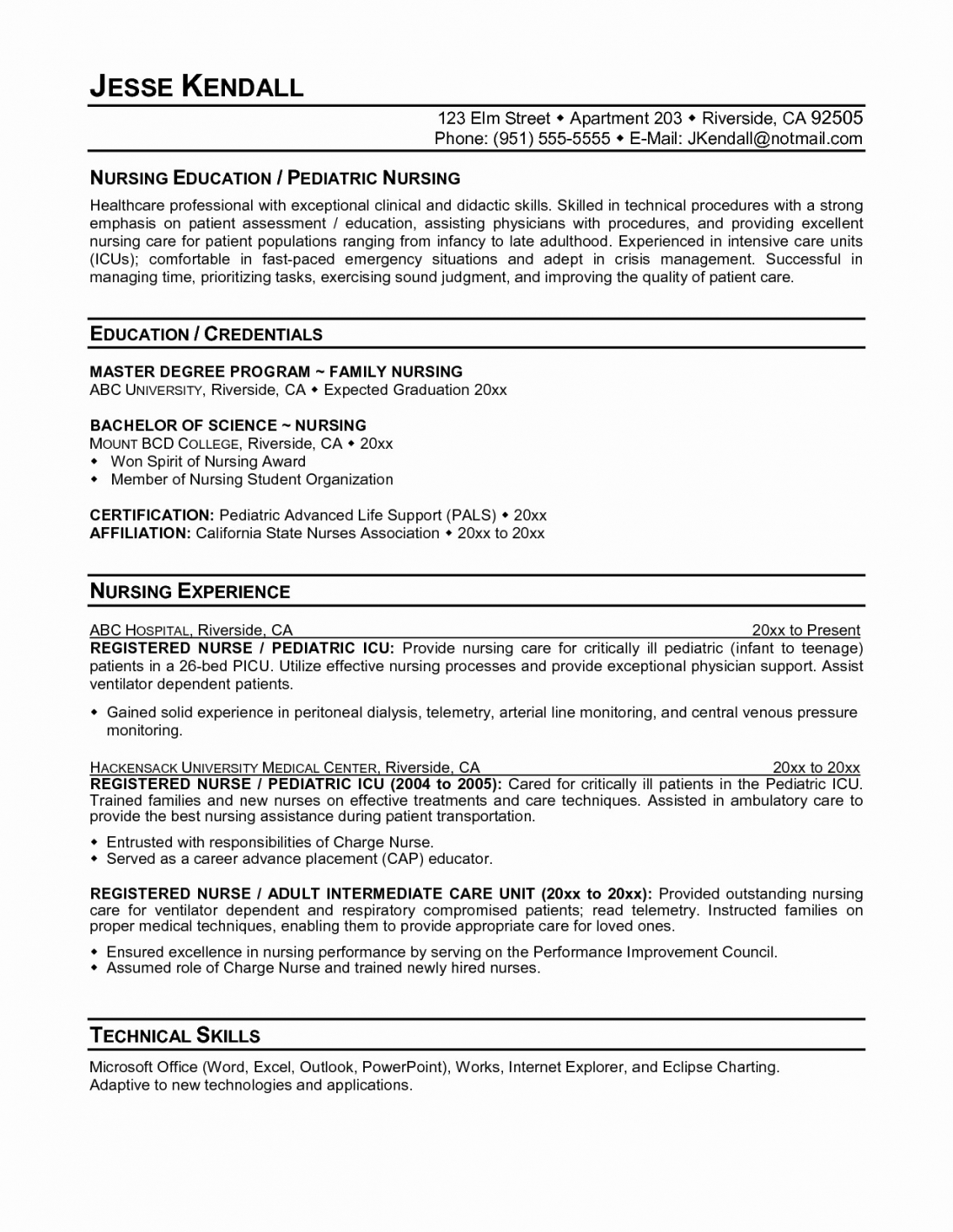 Nursing Resume Templates For Microsoft Word 2018 Nurse Resume