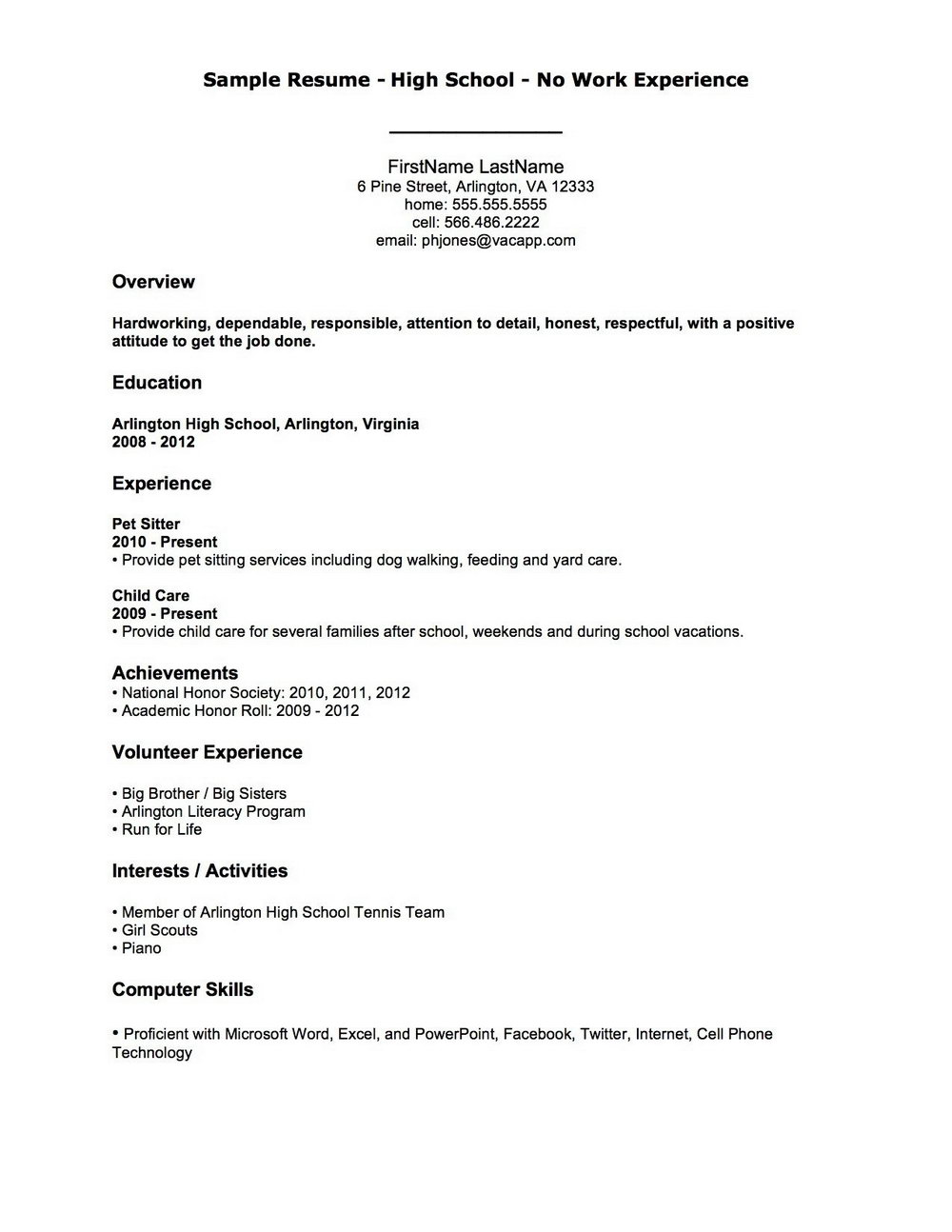 Outline Of A Resume For A Job