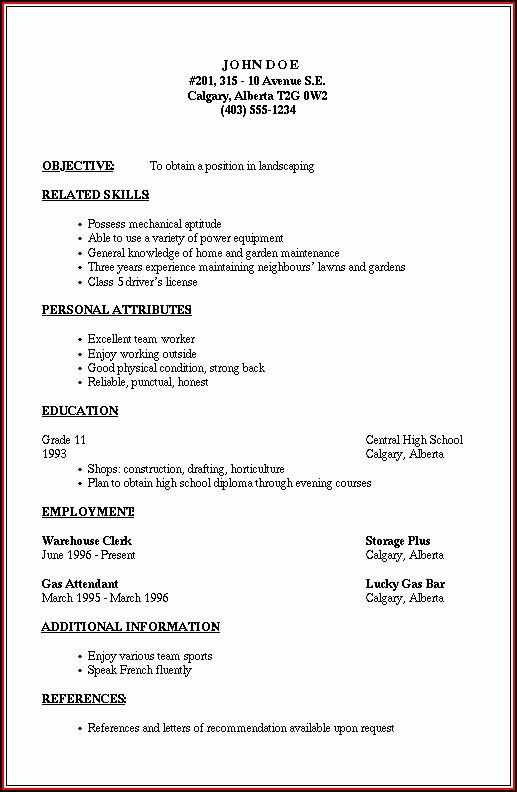 Outline Of A Resume Format
