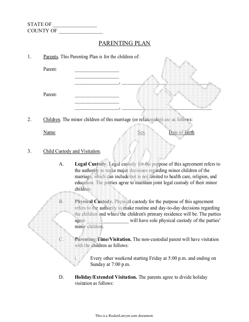 Parenting Plan Co Parenting Agreement Template