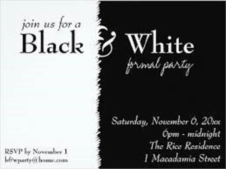 Party Invitation Template Black And White