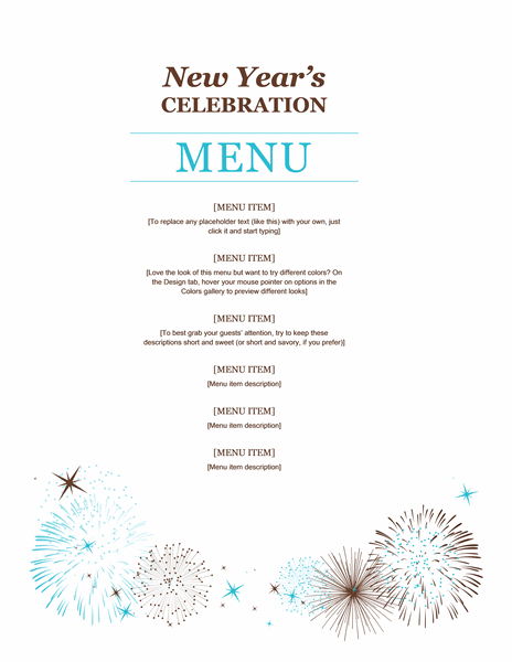 Party Menu Template Word
