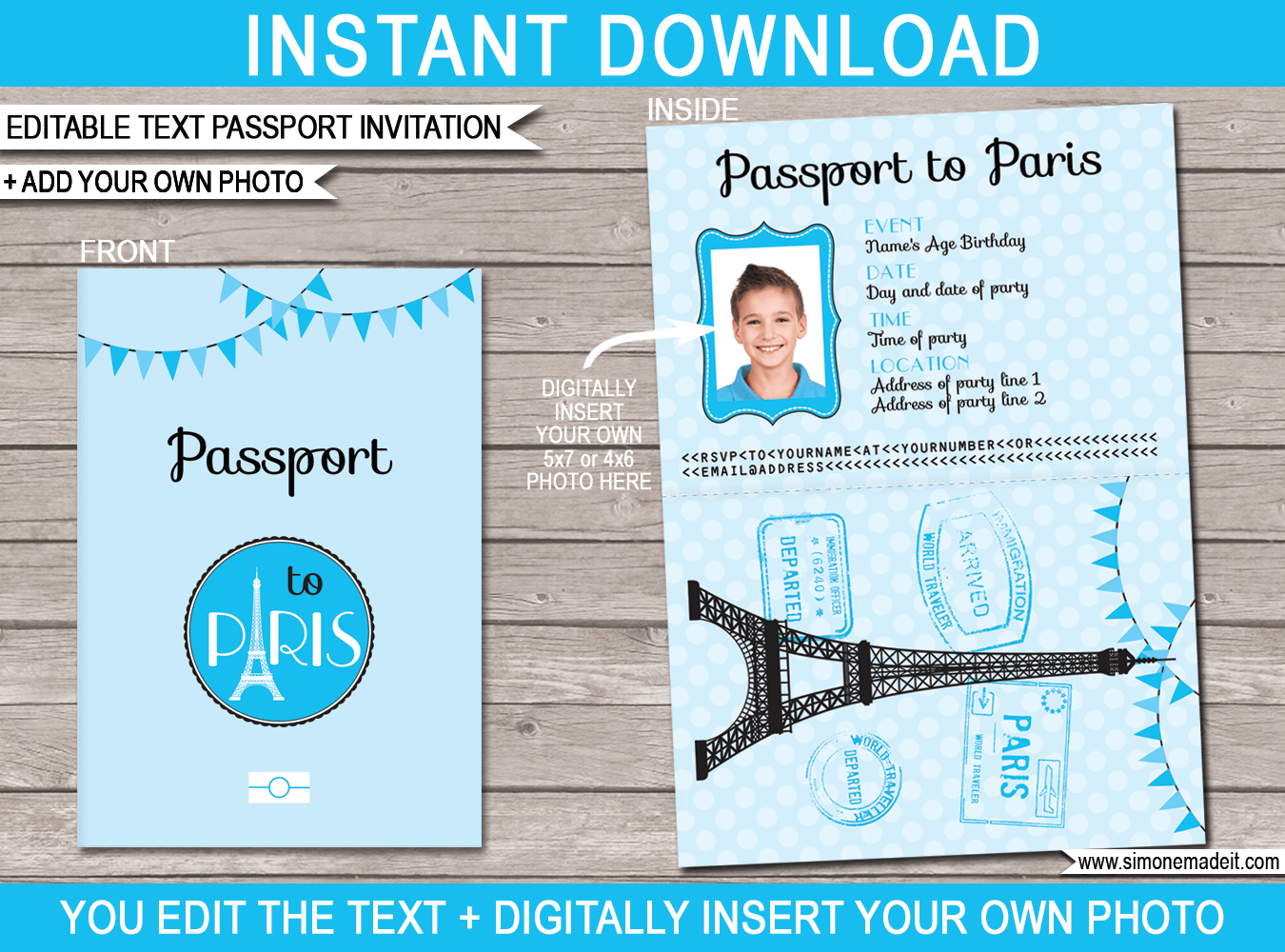 Passport Birthday Invitation Template