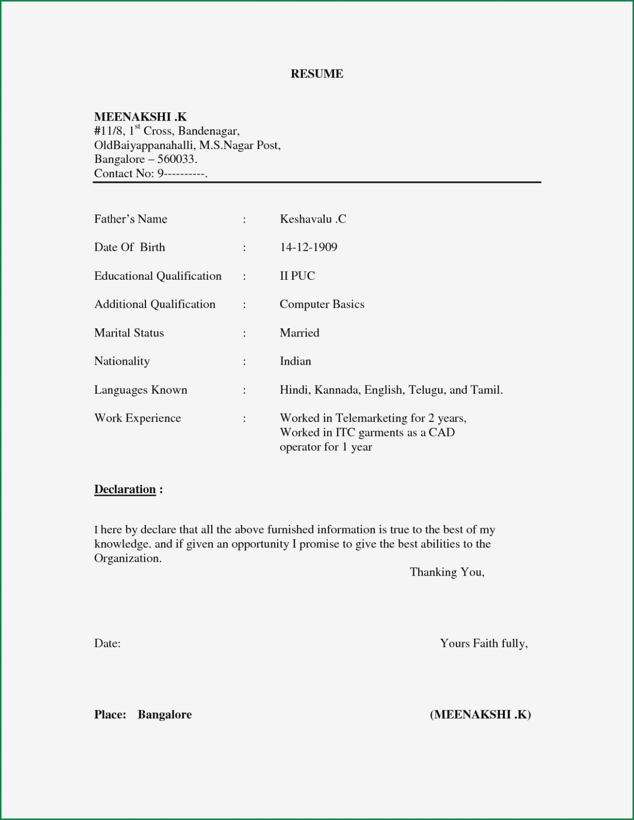 Pdf File Simple Resume Format Pdf