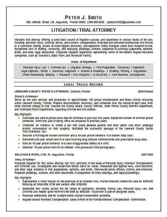 Personal Injury Attorney Resume Sample