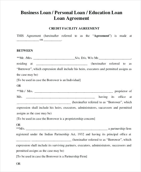 Personal Loan Agreement Template Uk