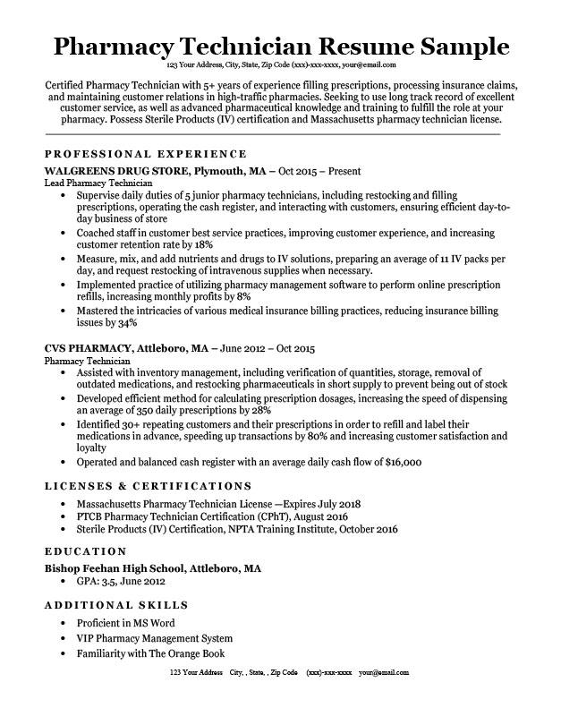 Pharmacy Tech Resume Samples