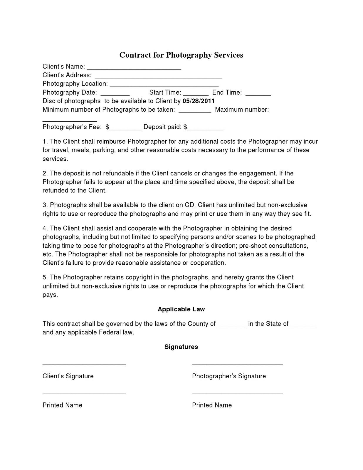 Photographer Agreement Contract Template