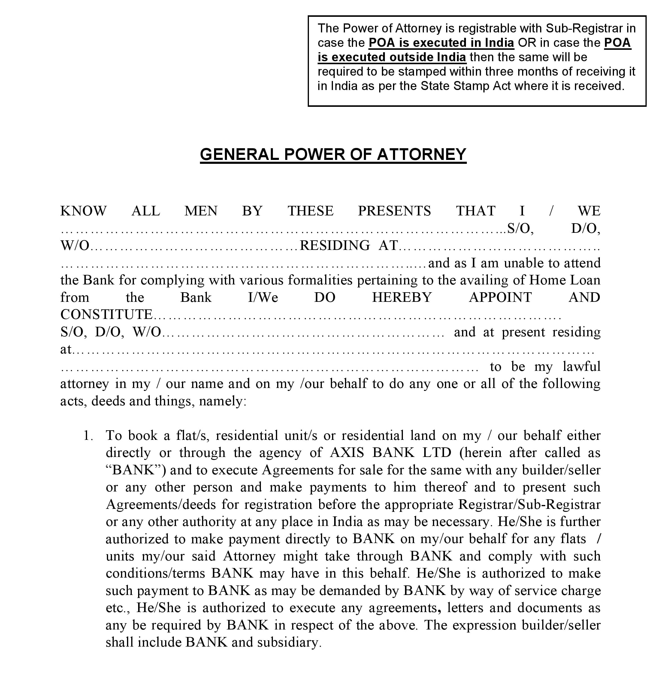 Power Of Attorney Template India