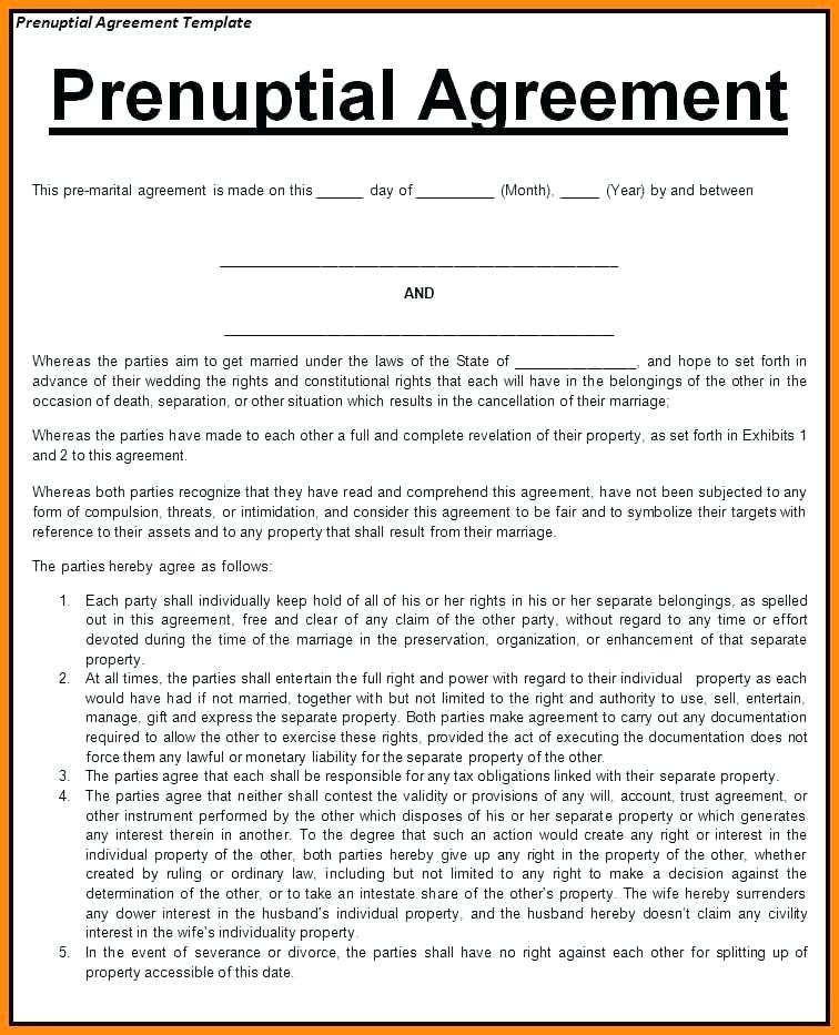 Prenuptial Agreement Template Word Texas