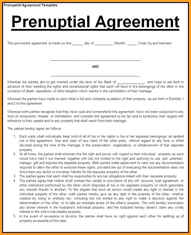 Prenuptial Agreement Washington State Template