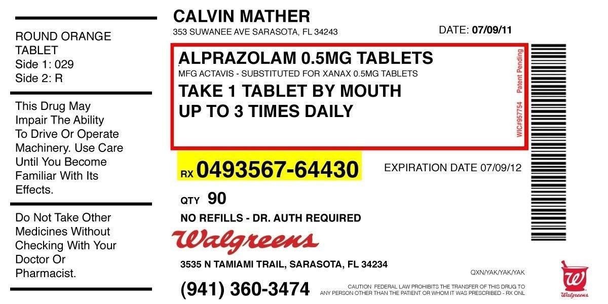 Prescription Pill Bottle Label Template