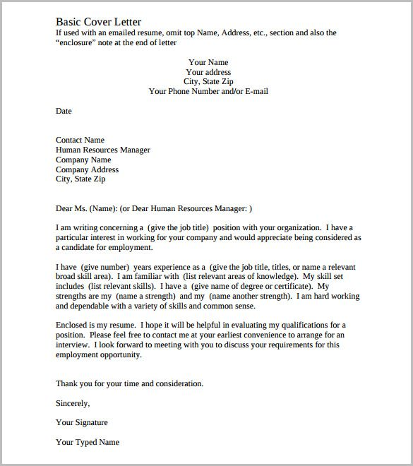 Printable Cover Letter Template Free