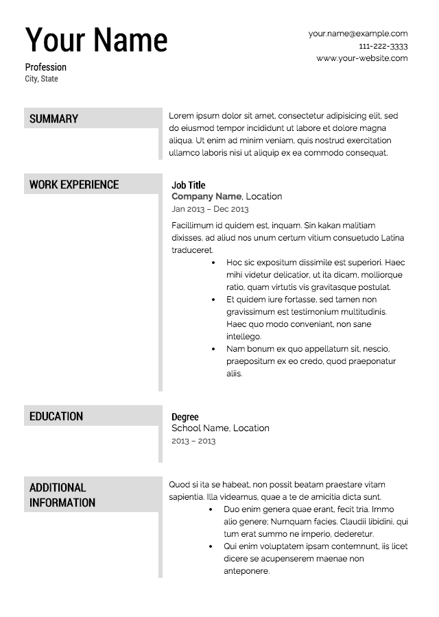 Printable Downloadable Free Resume Templates