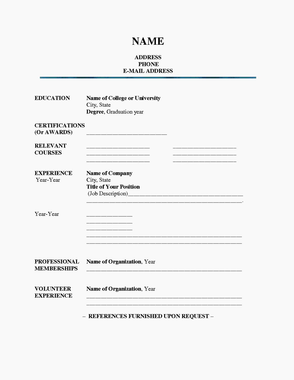 Fill In The Blank Resume Pdf Or Fill In Blank Printable Resume Resume Template