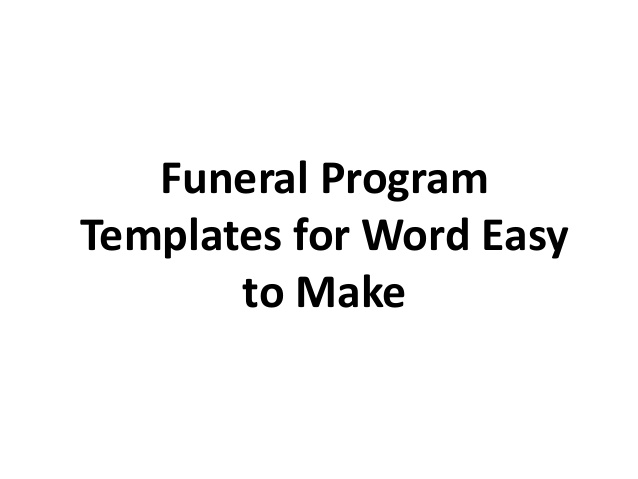 Printable Free Funeral Program Template Word