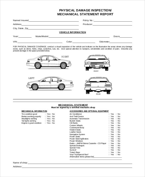 Printable Vehicle Inspection Form Template