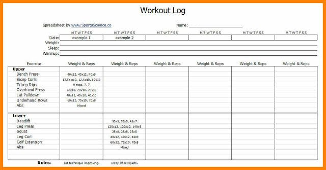 Printable Workout Journal Template