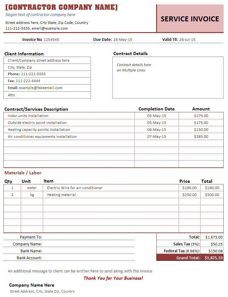 Professional Contractor Estimate Template