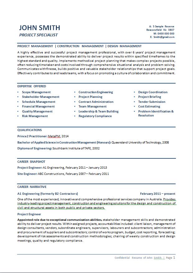 Professional Resume Template Australia