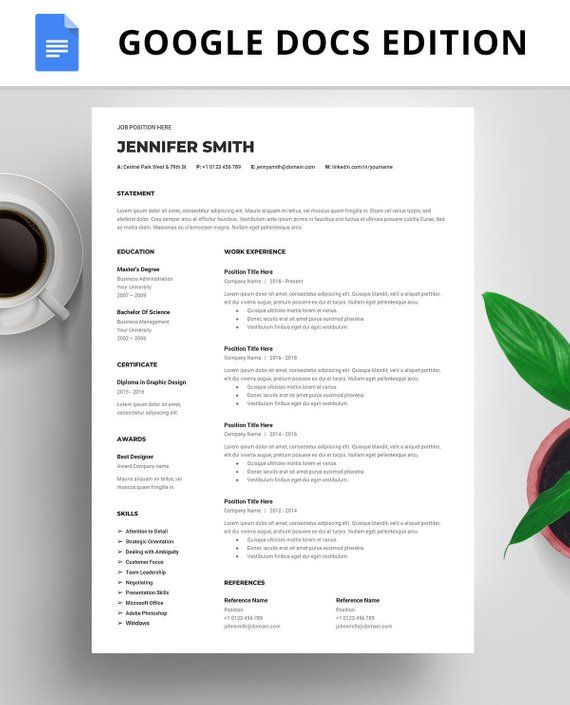 Professional Resume Template Google Docs