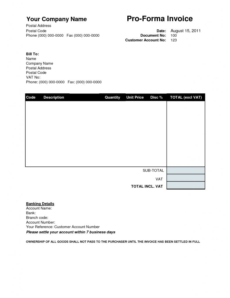 Proforma Invoice Template Download