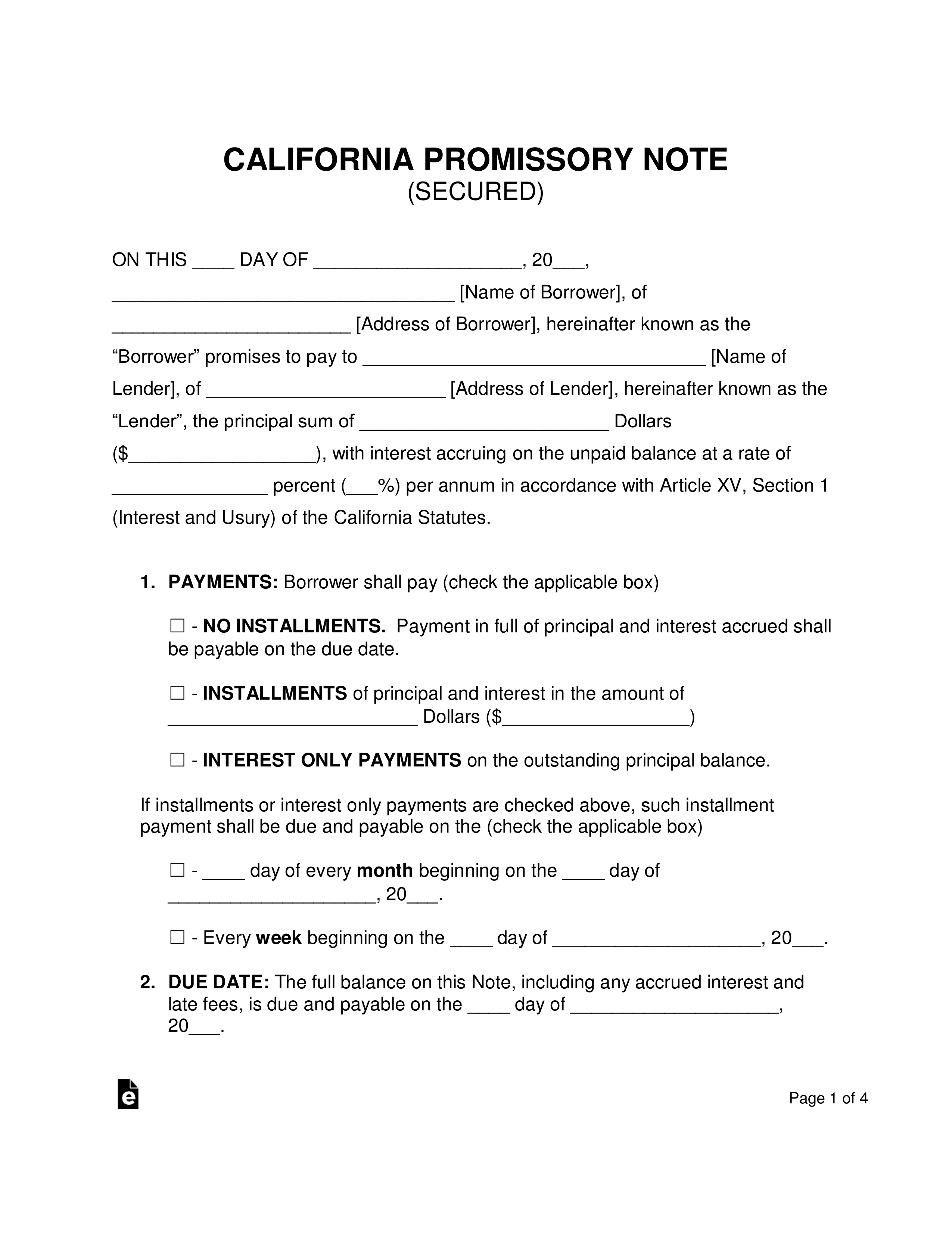 Promissory Note Template California Word