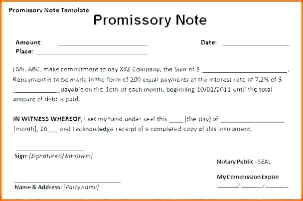Promissory Note Template Word Document