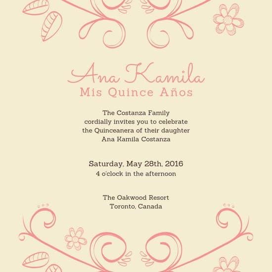 Quinceanera Invitation Templates
