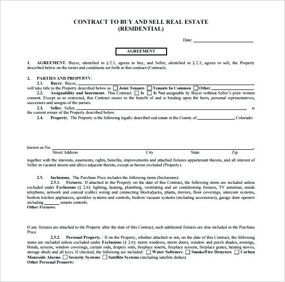 Real Estate Contract Template Florida
