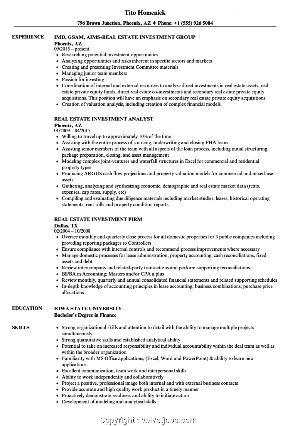 Real Estate Investor Resume Samples
