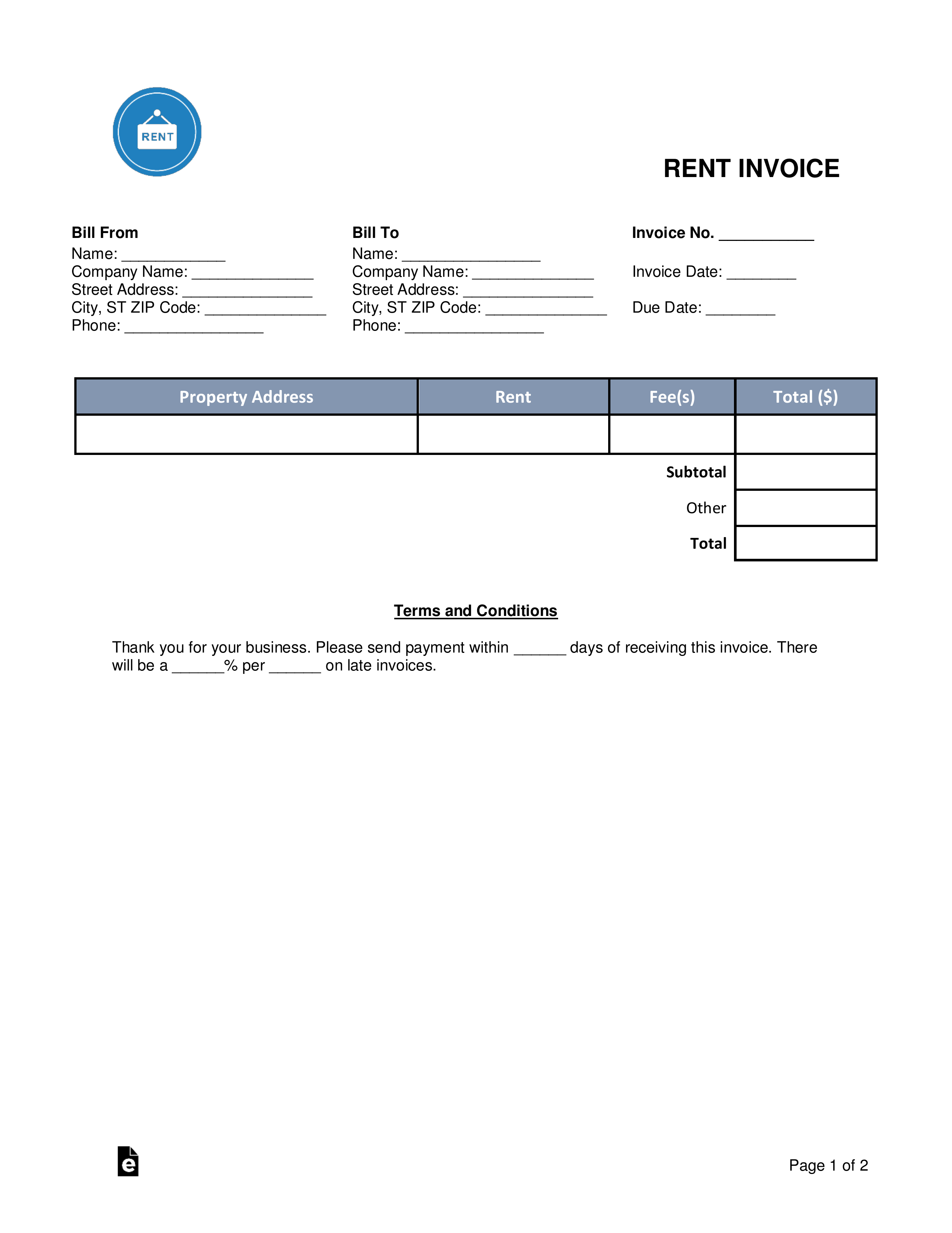 Rent Invoice Template Word
