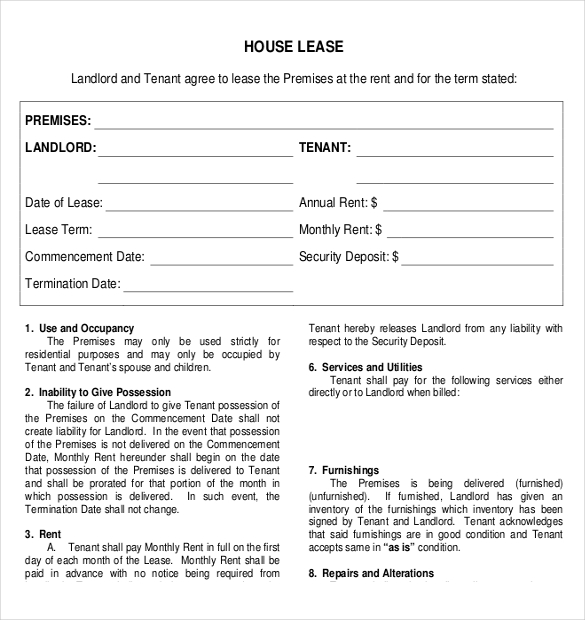 Rental Property Lease Agreement Template