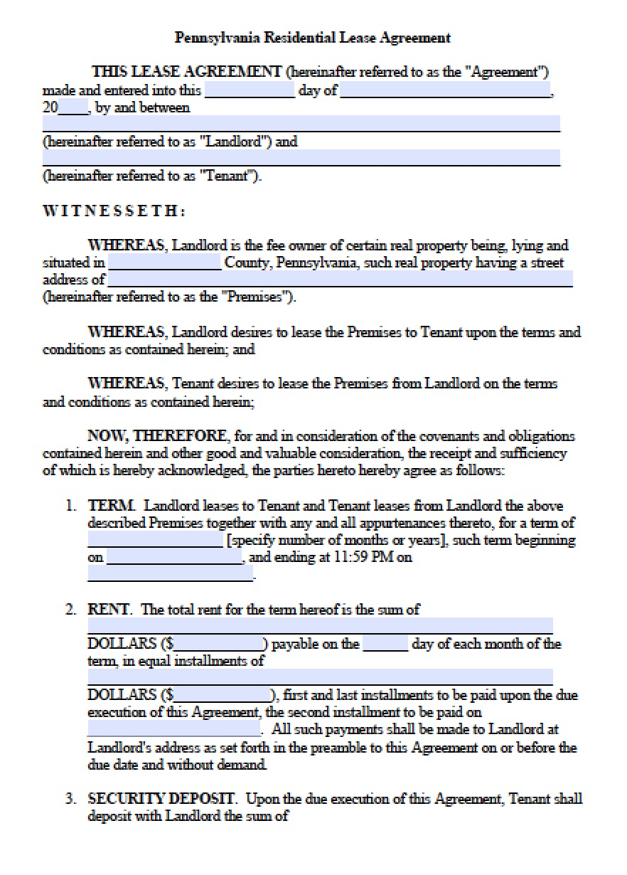 Residential Lease Template Pennsylvania