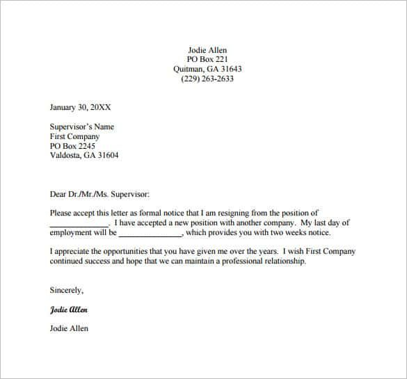 Resignation Letter Template Free Pdf