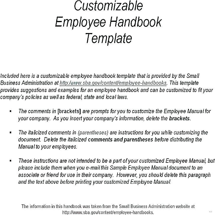 Restaurant Employee Handbook Template Free