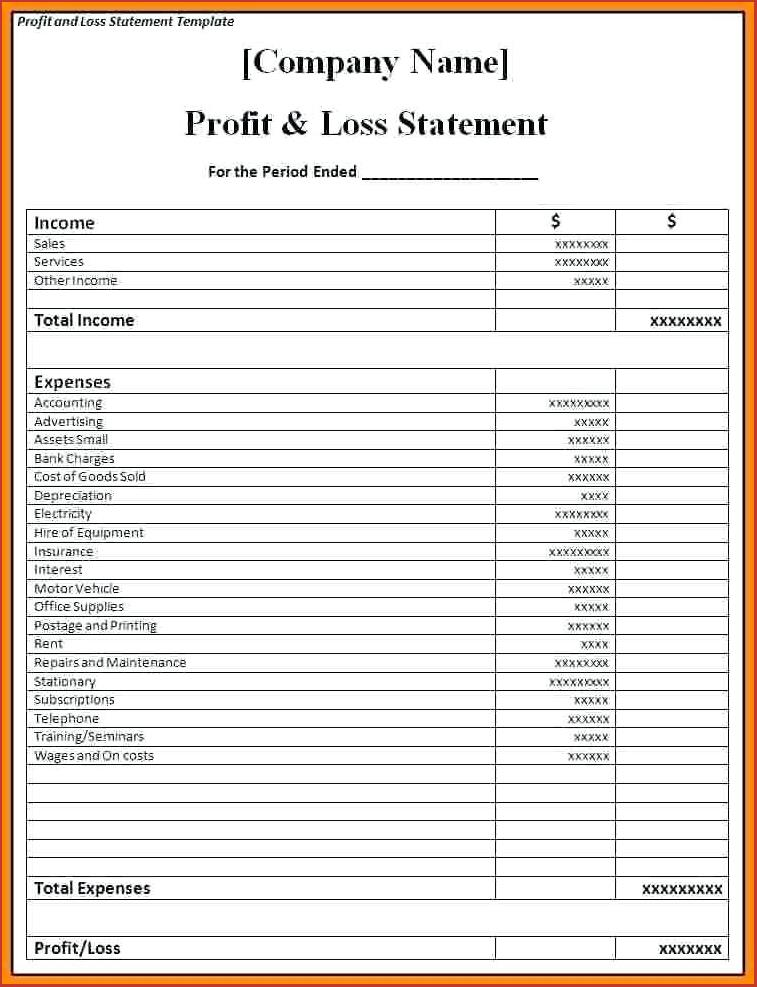 Restaurant Profit & Loss Statement Template