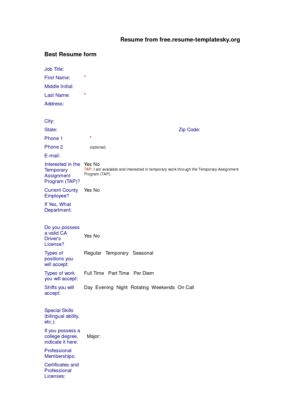 Resume Blank Form Free Download