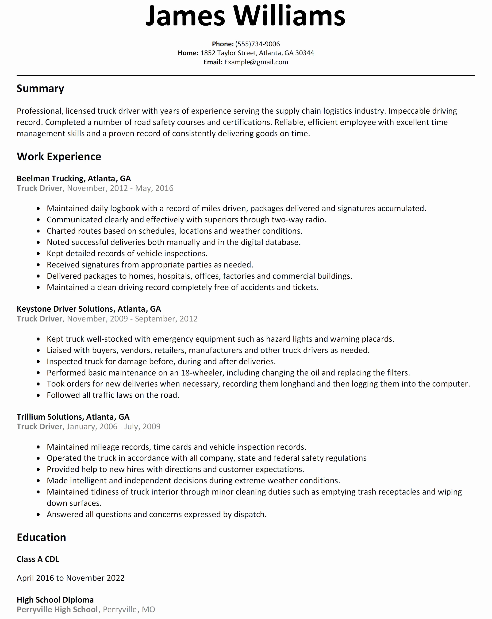 Delivery Driver Resume Sample Resume For Cdl Truck Driver Reference Cdl Resume Monpence Truck