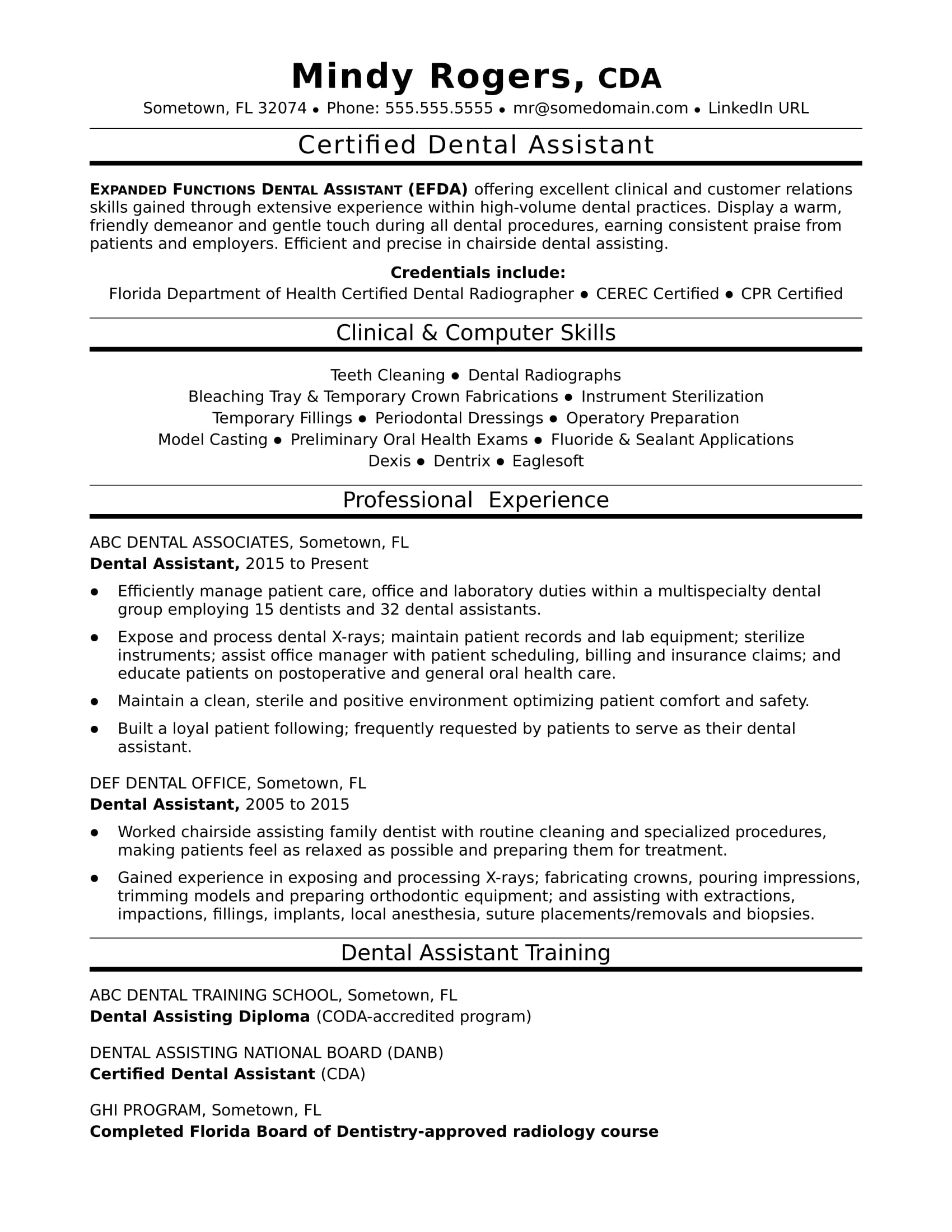 Resume For Dentist Job