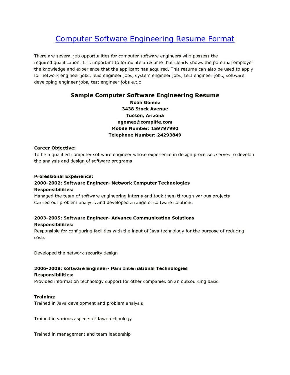Resume For Fresh Engineers
