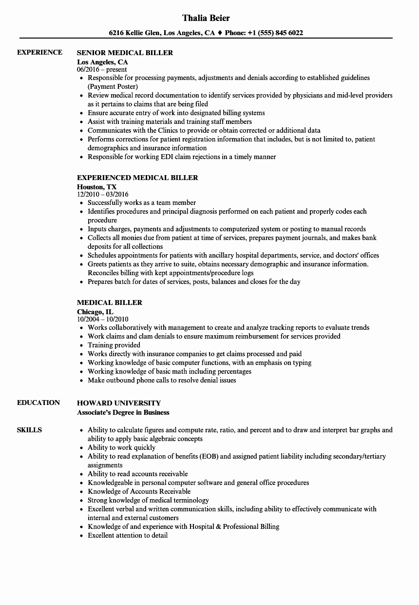 Resume For Medical Biller