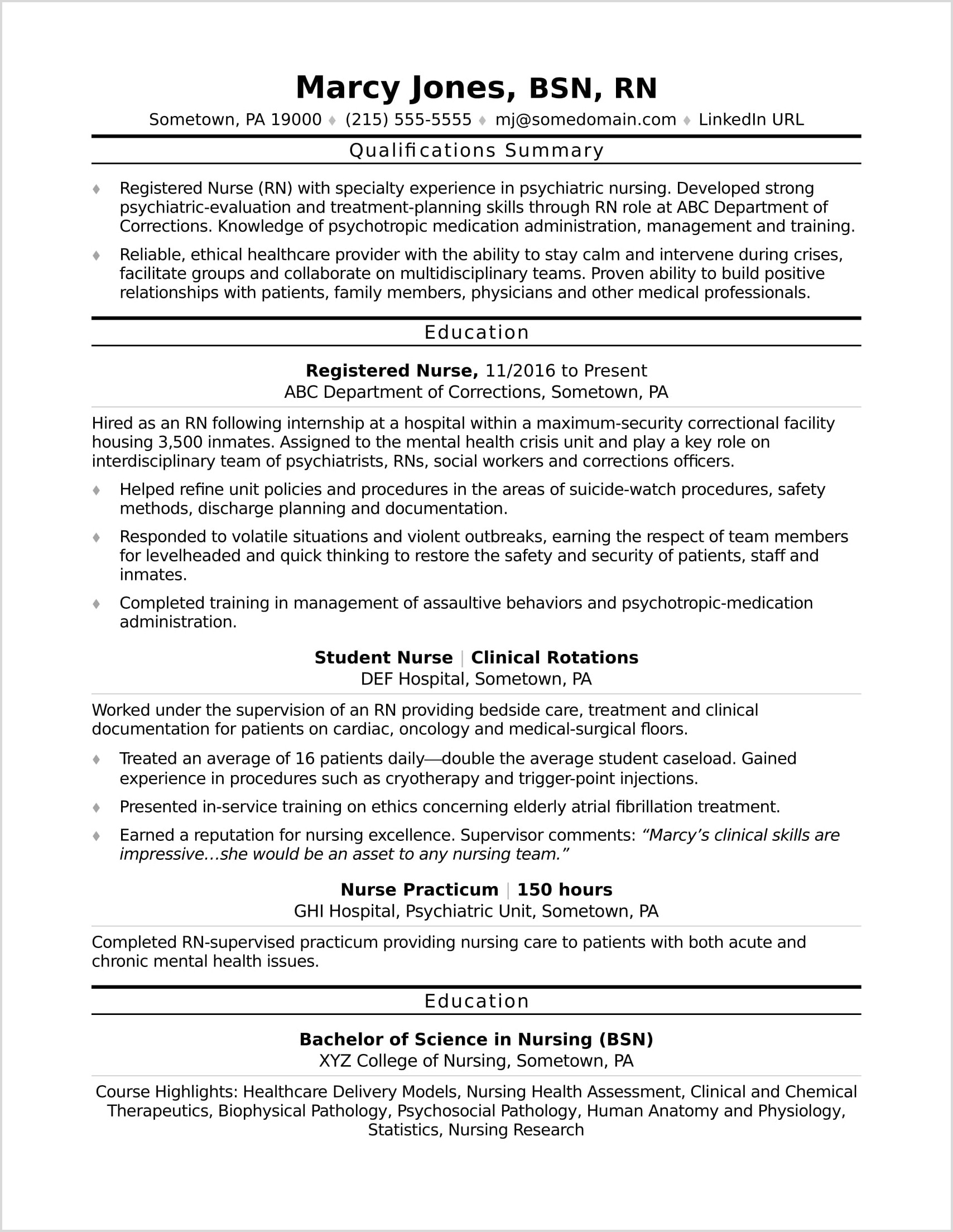 Resume For Registered Nurse With 1 Year Experience