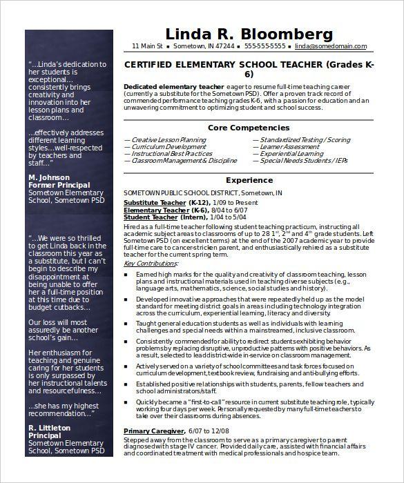 Resume For Teachers Template