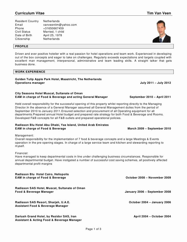 Resume Format For Hoteliers Lovely Cv Tim Van Veen